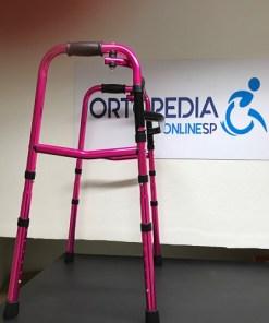 Andador infantil em alumínio rosa metálico - Ortopedia Online SP