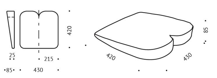 poduszka do siedzenia VALDE K2 wymiary