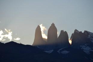 Torres del Paine bei Sonnenuntergang