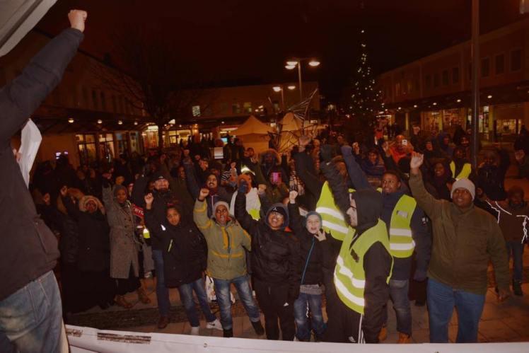 Från Förorten mot vålds demonstrationer i Rinkeby i december. Bild: FMVs Facebooksida