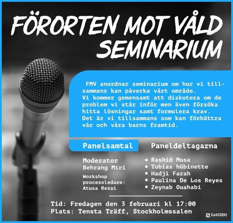 Förorten mot våld annordnar seminarium på Tensta träff 3 februari Bildkälla: FMV på Facebook