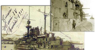 Bojni brod ''Henri IV'' sa detaljem topova 14 cm. koji su demontirani
