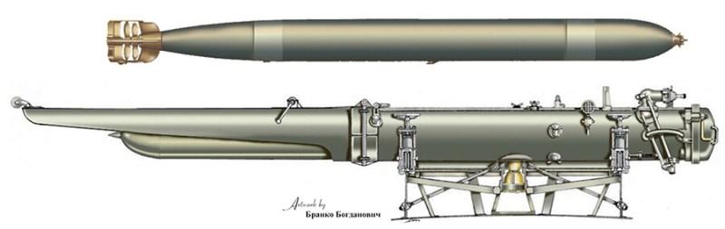 Ruski torpedo Vajthed 381 mm M1898 ''L'' sa lansirnim aparatom. Rekonstrukcija B. Bogdanović