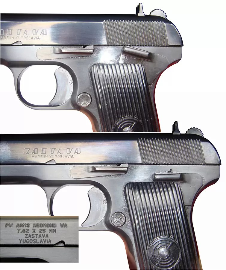 Mehanička kočnica i natpisi na pištoljima 7,62 mm PW Arms M-57 Zastava