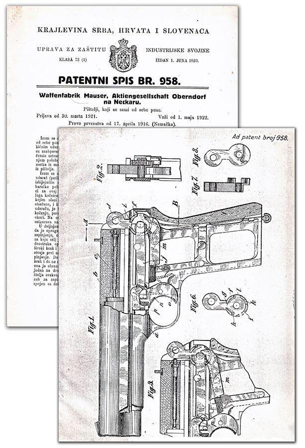 Pištolj Mauser-Nickl, jugoslovenski patent 958