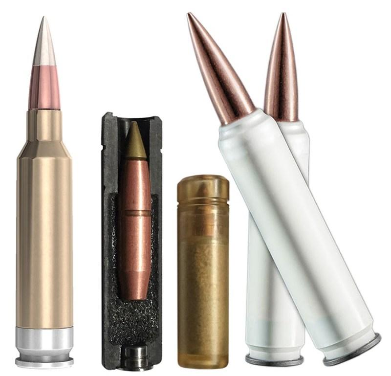 Novi tipovi municije 6.8 RS za američki program NGSW (sleva udesno): ''Sig Sauer'' sa čeličnim dancetom čaure; ''Textron'' ''teleskopska'' municija; municija sa čaurama od polimera.