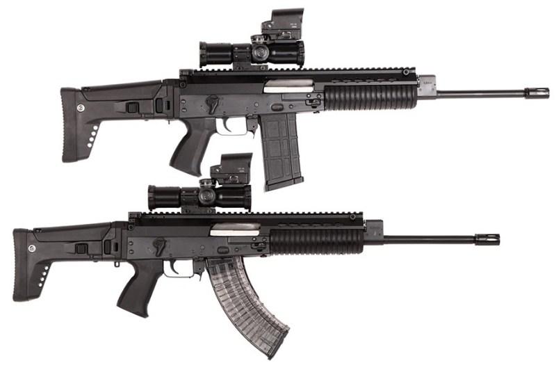 MAP M17/19 sa okvirom i cevi kalibra 6.5mm Grendel (gore) i u kalibru 7.62mm.