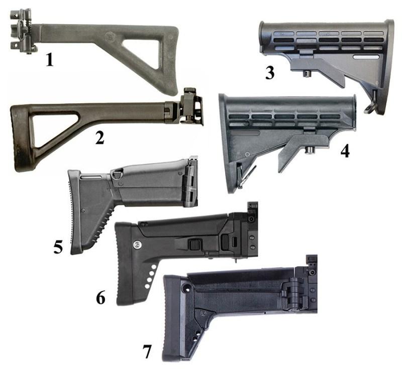 Promene na kundaku: 1. Preklopni kundak tip Heckler & Koch, proizvod ''Choate Machine & Tool''; 2. isti tip kundaka na domaćem oružju 5.56mmNATO M21; 3. teleskopski preklopni polimerski kundak za pušku ''British Imperial Defence Services MG4A5''; 4. kundak na oružju 7.62/6.5mm M17; 5. teleskopski preklopni polimerski kundak za belgijsku pušku ''Belgian FN Herstal SCAR-H''; 6-7; kundaci na oružju 7.62/6.5mm M19