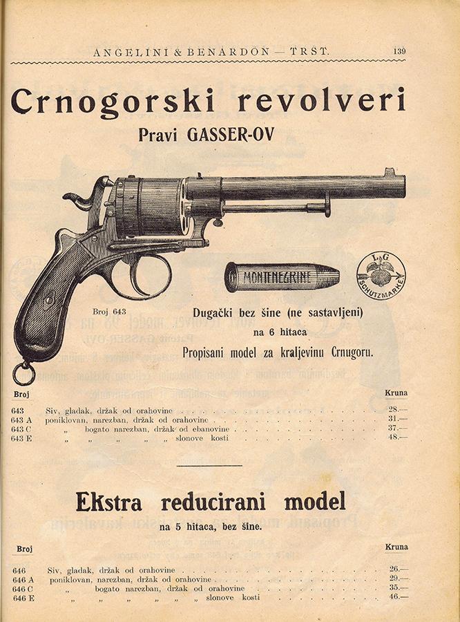 Katalog tršćanske firme Angelini & Benardon sa reklamom za Crnogorske revolvere, Prave Gasser-ove. Trst, 1901