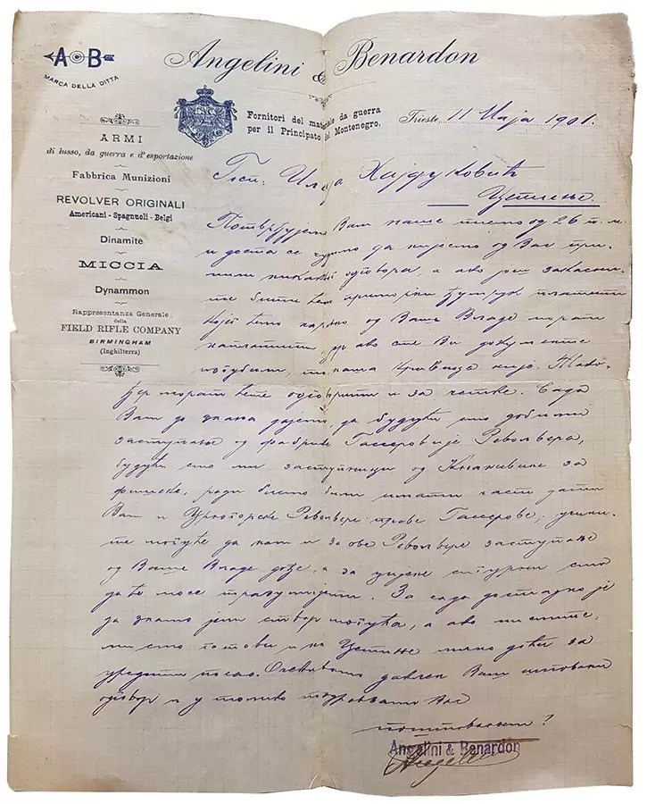 Ponuda revolvera Gasser firme Angelini & Benardon Iliji Hajdukoviću, 11 maj 1901. CASG