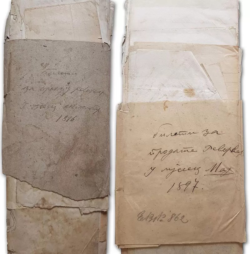 Omoti bileta prodatih gaserovih revolvera za 1896 i 1897 godinu. CASG, MV