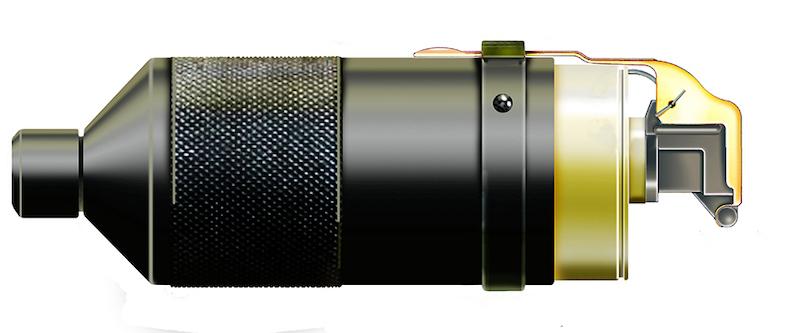 Bacač granata sa C-S gasom M81/85 (Launching CS Grenade LRB - M3) za AP 7.62mm, konstrukcija Institut bezbednosti i VTI Beograd, proizvod Zavodi Crvena Zastava Kragujevac