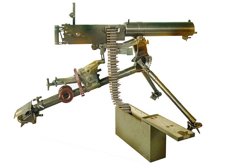 Mitraljez sa tripodom i sandukom za platneni redenik M1909, priložen uz Ponudu berlinskog DWM Crnoj Gori