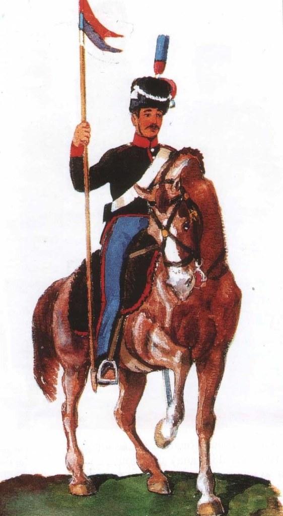 Prvi uniformisani gardista 1835. Akvarel Pavle Vasic
