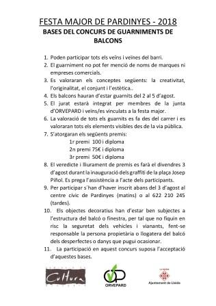 FESTA MAJOR DE PARDINYES 2018 . Bases concurs de balcons (1)-001