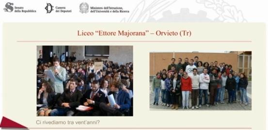 """Concorso """"Dalle aule parlamentari alle aule di scuola"""" – Primo premio agli studenti del liceo Majorana"""