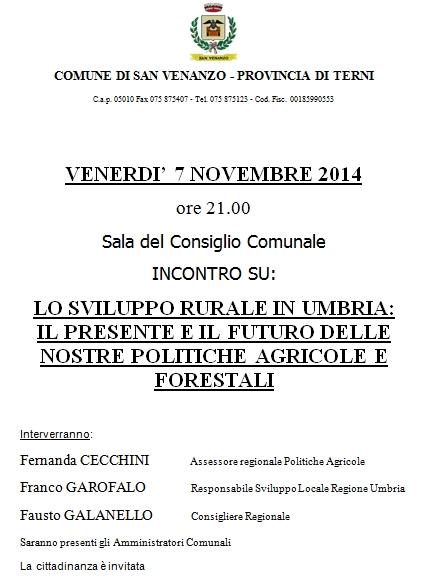 A San Venanzo incontro sullo sviluppo rurale in Umbria