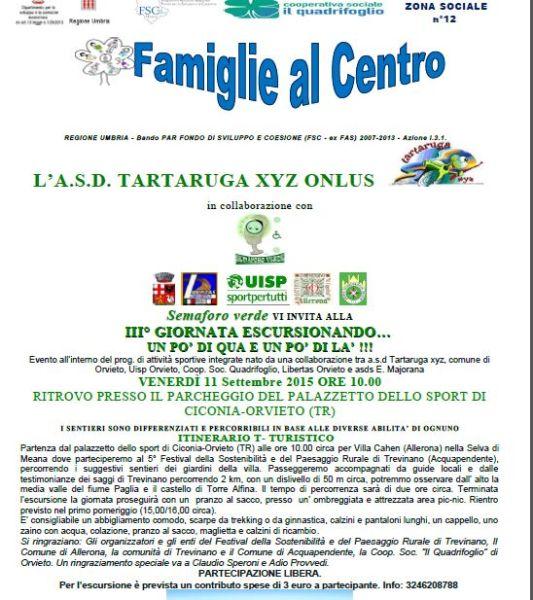 III° GIORNATA di ESCURSIONANDO…DELLA A.D.S. TARTARUGA XYZ DI ORVIETO