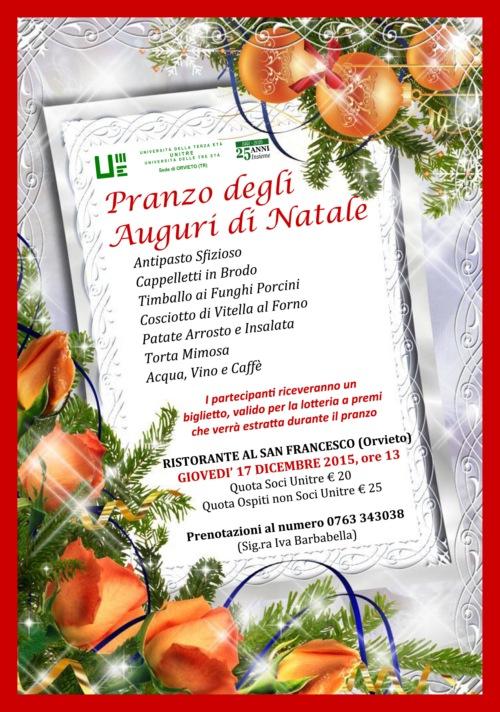 Auguri Di Natale Per La Famiglia.Pranzo Degli Auguri Di Natale Con La Famiglia Unitre Orvietosi It