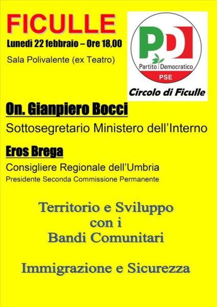 """A Ficullle il PD discute di """"Territorio e sviluppo con i bandi comunitari"""""""