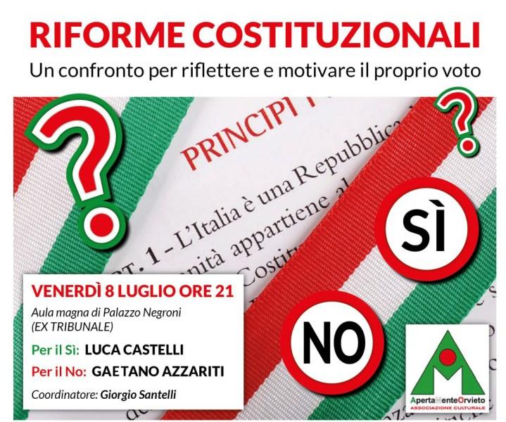 ApertaMenteOrvieto, serata di confronto sul Referendum Costituzionale