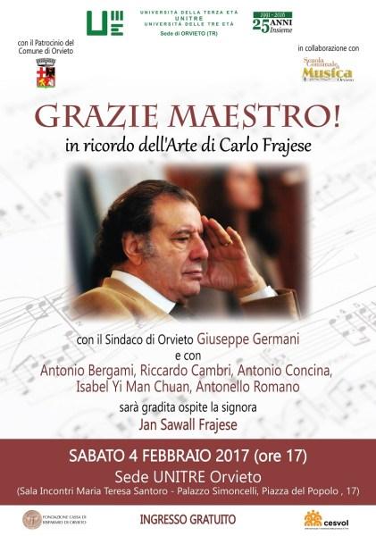 Grazie Maestro! L'Unitre di Orvieto ricorda il maestro Carlo Frajese