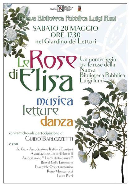 """""""Le rose di Elisa. Musica, letture, danza"""" nel Giardino dei Lettori"""