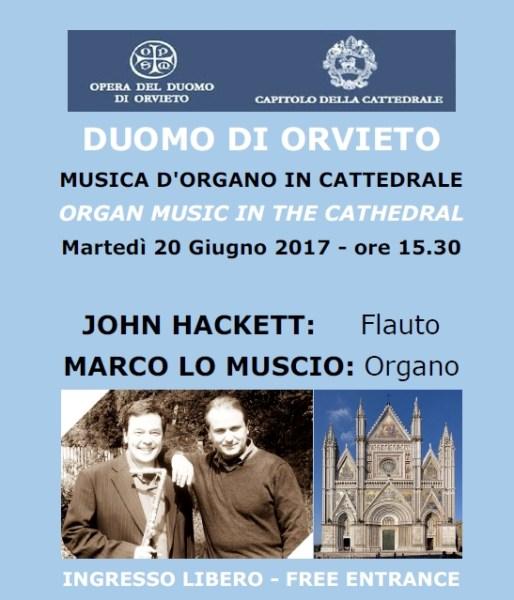 Torna a Orvieto John Hackett, grande flautista progressive in concerto al Duomo