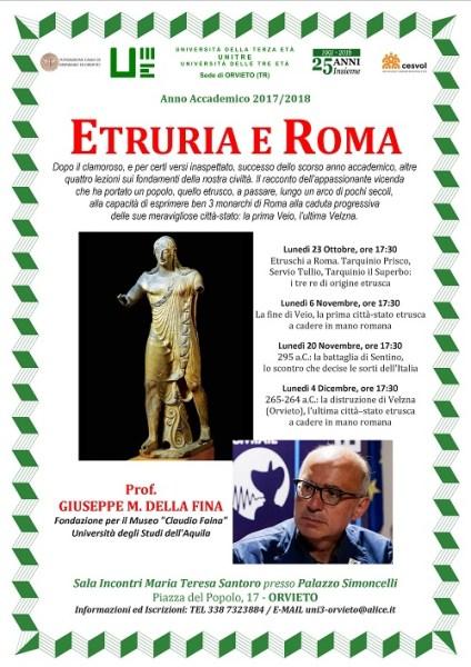 """All'UniTre arriva la Storia Antica del professor Giuseppe Della Fina con """"Etruria a Roma"""""""