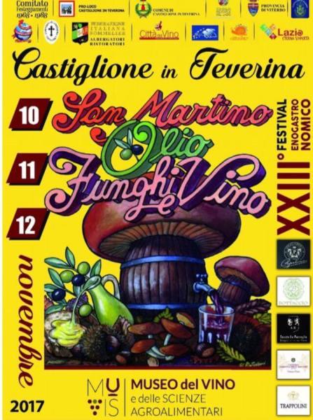 """""""San Martino olio, funghi e vino"""", a Castiglione in Teverina la XXIII edizione del Festival Enogastronomico"""