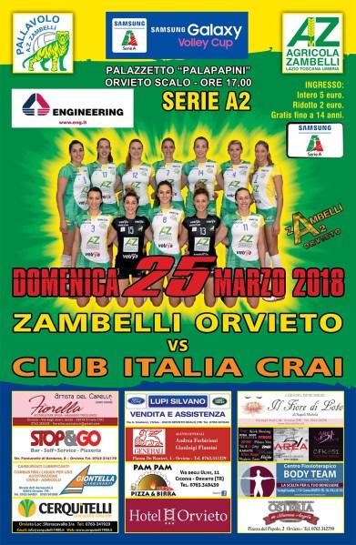 Zambelli Orvieto: sono punti roventi quelli in palio contro il Club Italia