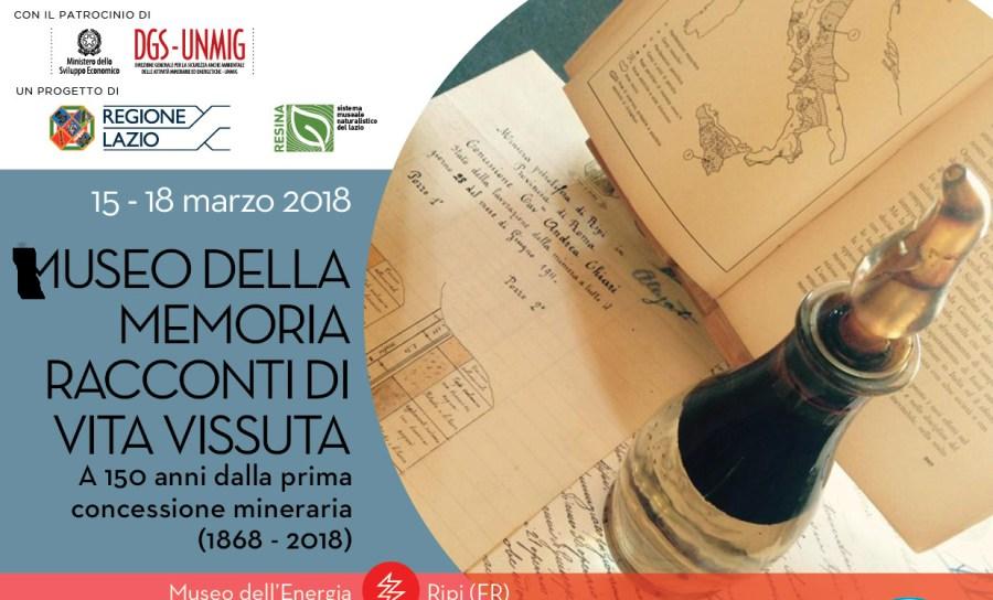 """""""Museo della memoria. Racconti di vita vissuta"""": dal 15 al 18 marzo al Museo dell'Energia di Ripi"""