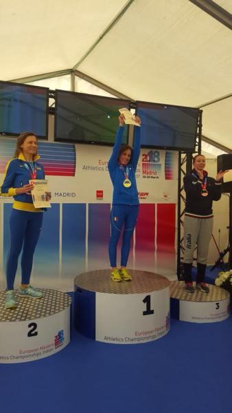 Valeria Pedetti sul tetto d'Europa. E' campionessa europea nella 3 km di marcia ai Campionati Master indoor di Madrid