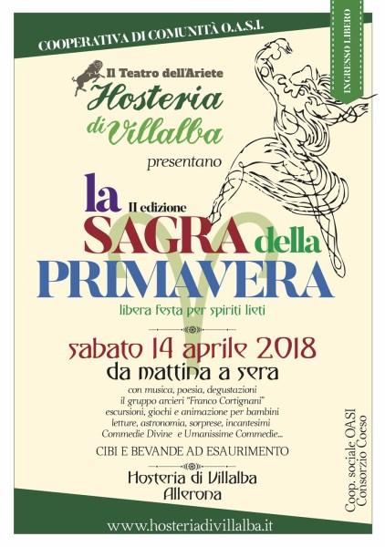 La Sagra della Primavera  all'Hosteria di Villalba. Sabato 14 aprile, da mattina a sera.