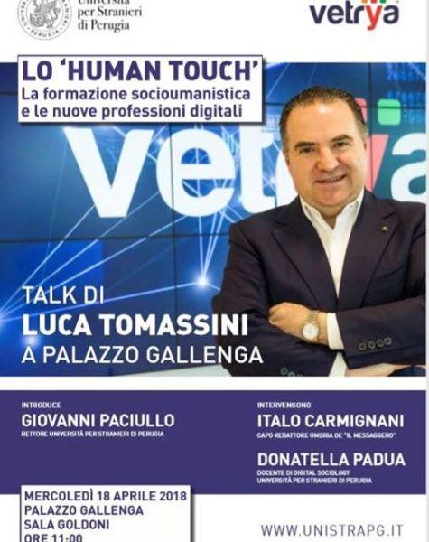 Human Touch, al fondatore di Vetrya Luca Tomassini conferita la Medaglia dell'Università per Stranieri di Perugia