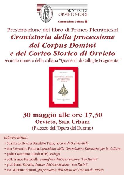 """""""Cronistoria della processione del Corpus Domini e del Corteo Storico di Orvieto"""" nel libro di Pietrantozzi"""