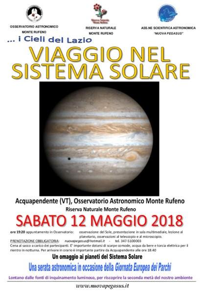 Viaggio nel sistema solare, nuova serata all'Osservatorio Astronomico Monte Rufeno