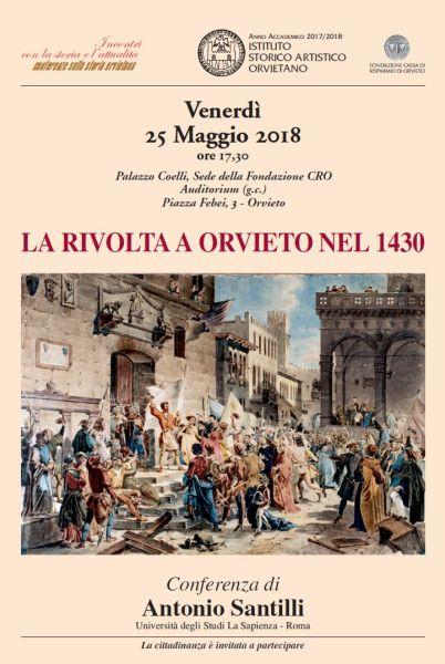 """Conferenza Isao """"La rivolta a Orvieto nel 1430"""" a cura dello storico Antonio Santilli"""