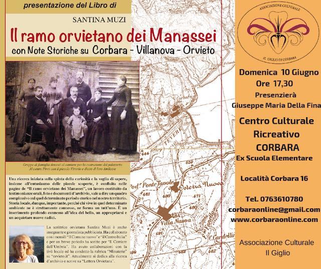 """""""Il ramo orvietano dei Manassei"""", al centro ricreativo di Corbara si presenta il libro di Santina Muzi"""