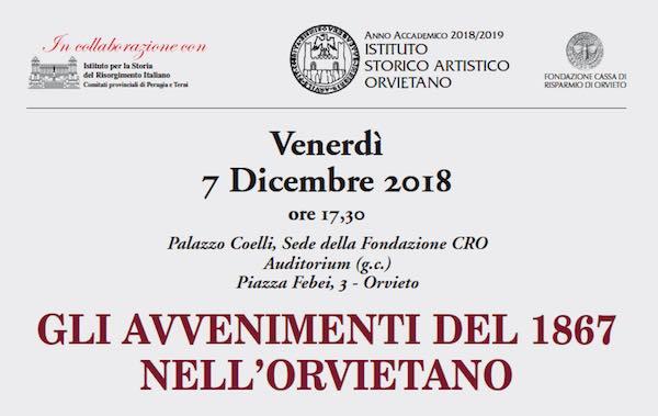 """""""Gli avvenimenti del 1867 nell'Orvietano"""", a Palazzo Coelli"""