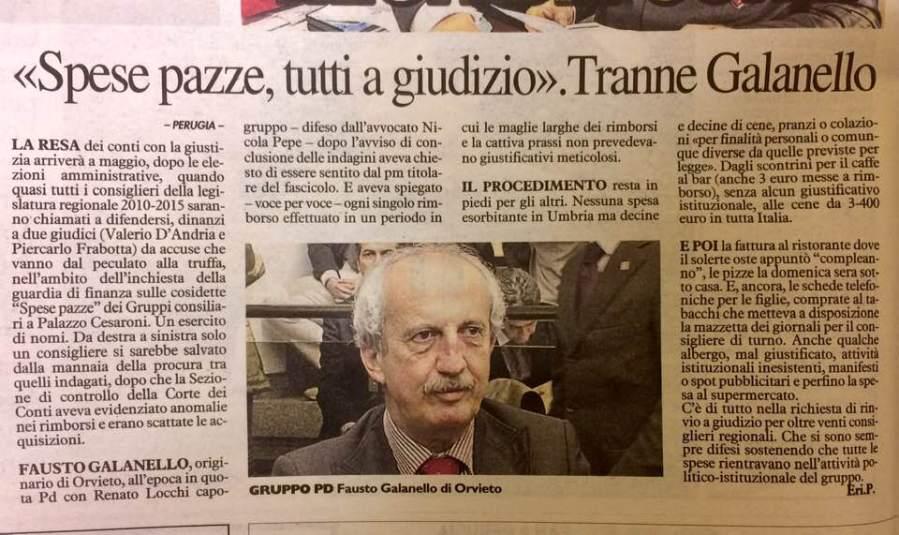 """Galanello il politico più """"innocente"""" dell'Umbria. Come tutti i politici orvietani, di sx e dx"""