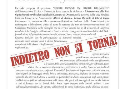 """Orvieto solidale alla contro-manifestazione per il """"Congresso Mondiale delle Famiglie"""""""