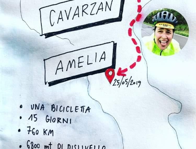 Amelia Cavarzan in bicicletta da Belluno ad Amelia
