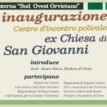 Giove, nell'ex Chiesa di San Giovanni Battista si inaugura il Centro d'incontro Polivalente