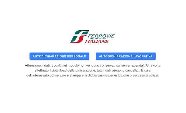 Covid-19, l'App di FS Italiane per autocertificazione spostamenti