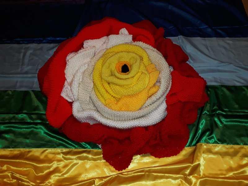 Narni, ai tempi del coronavirus nella sciarpa dell'accoglienza nasce una rosa