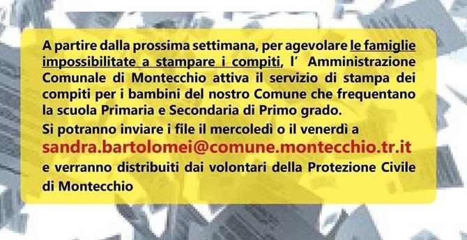 Covid-19, a Montecchio il Comune porta compiti cartacei a casa