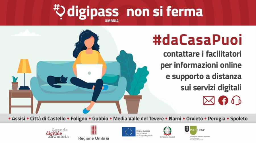 Partitata la campagna #daCasaPuoi. I Digipass dell'Umbria assicurano informazione online