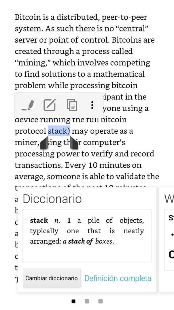 Acceso al diccionario desde un libro electrónico