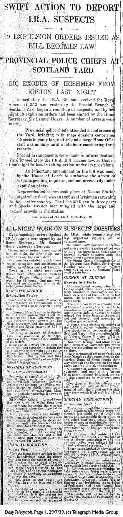 Daily Telegraph 29-7-39 Page 1-2